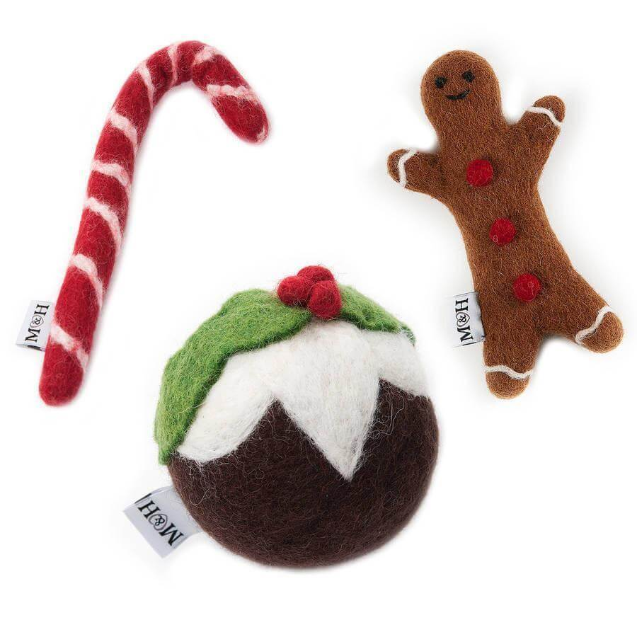 Mutts and Hounds Luxury Festive Wool Dog Toys Set