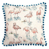 Mutts and Hounds Luxury Flamingo Linen Cushion with Pom Poms