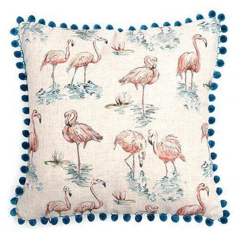 Flamingo Linen Cushion with Pom Poms
