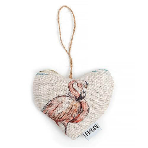 Mutts and Hounds Luxury Flamingo Linen Lavender Heart
