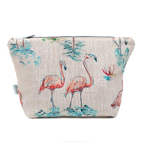 Mutts and Hounds Luxury Flamingo Linen Wash Bag