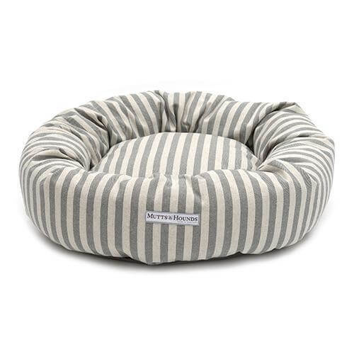 Mutts and Hounds Luxury Flint Stripe Brushed Cotton Donut Bed