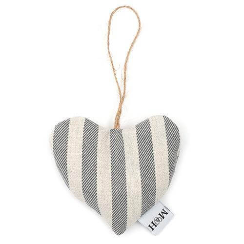 Mutts and Hounds Luxury Flint Stripe Brushed Cotton Lavender Heart