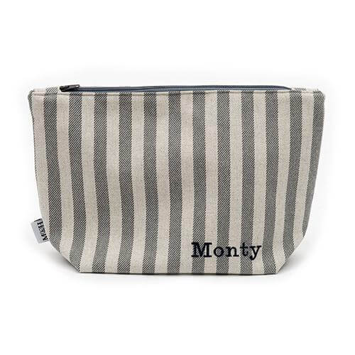 Mutts and Hounds Luxury Flint Stripe Brushed Cotton Wash Bag