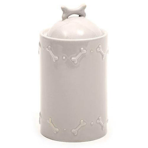 Grey Ceramic Dog Biscuit Jar
