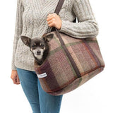 Mutts and Hounds Luxury Grape Check Tweed Dog Carrier