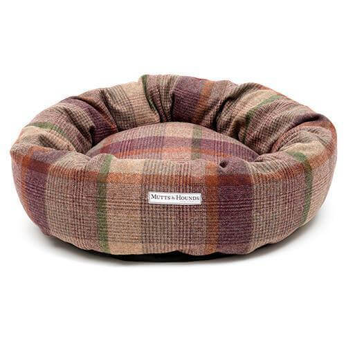 Mutts and Hounds Luxury Grape Check Tweed Donut Bed