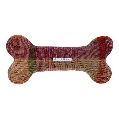 Grape Check Tweed Squeaky Bone Dog Toy