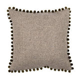 Mutts and Hounds Luxury Grey Tweed Cushion with Pom Poms