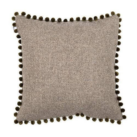 Grey Tweed Cushion with Pom Poms