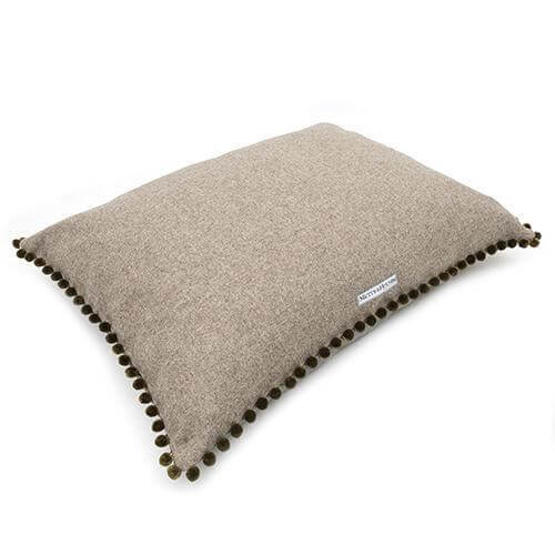 Mutts and Hounds Luxury Grey Tweed Pillow Bed with Pom Poms