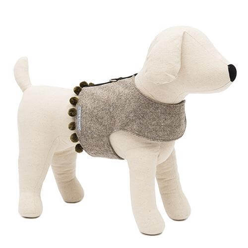 Mutts and Hounds Luxury Grey Tweed Soft Harness with Pom Poms