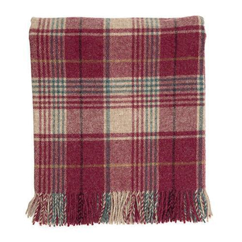 Grape Huntingtower Check Wool Blanket