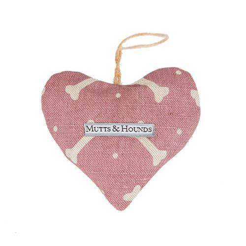 Mutts and Hounds Luxury M&H Heather Bone Linen Lavender Heart