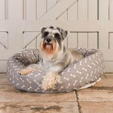 Mutts and Hounds Luxury M&H Mushroom Bone Linen Donut Bed
