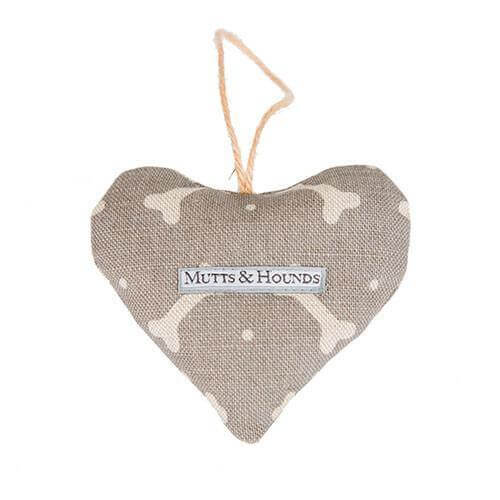 Mutts and Hounds Luxury M&H Mushroom Bone Linen Lavender Heart