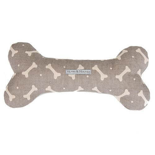 Mutts and Hounds Luxury M&H Mushroom Bone Linen Squeaky Bone Toy