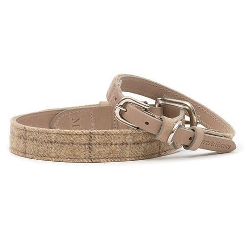 Mutts and Hounds Luxury Oatmeal Check Tweed Dog Collar