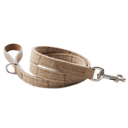 Mutts and Hounds Luxury Oatmeal Check Tweed Dog Lead