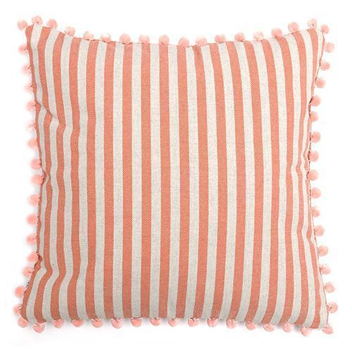 Mutts and Hounds Luxury Orange Stripe Brushed Cotton Cushion with Pom Poms