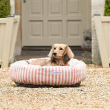 Mutts and Hounds Luxury Orange Stripe Brushed Cotton Donut Bed