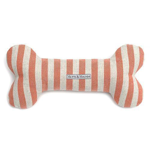 Mutts and Hounds Luxury Orange Stripe Brushed Cotton Squeaky Bone Toy