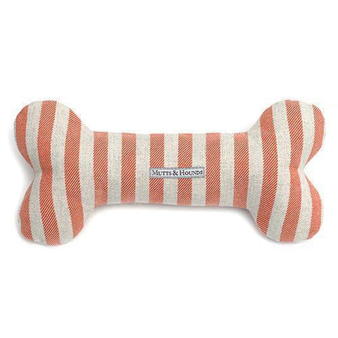 Orange Stripe Brushed Cotton Squeaky Bone Dog Toy