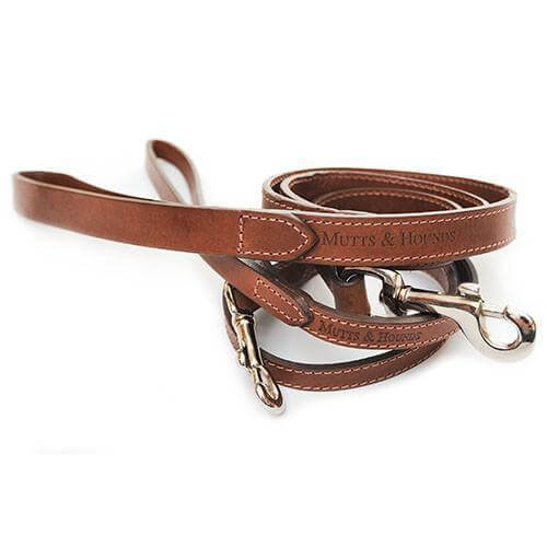 Mutts and Hounds Luxury Tan Leather Dog Lead