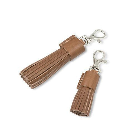Tan Leather Tassel Clip