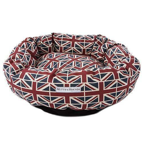 Mutts and Hounds Luxury Union Jack Linen Donut Bed