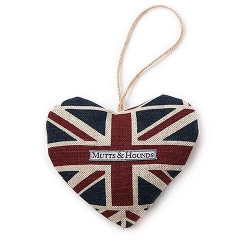 Mutts and Hounds Luxury Union Jack Linen Lavender Heart