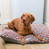 Mutts and Hounds Luxury Union Jack Linen Pillow Dog Bed