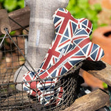 Mutts and Hounds Luxury Union Jack Linen Squeaky Bone Toy