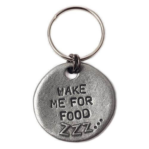"Mutts and Hounds Luxury ""Wake Me For Food"" Slogan Dog Tag"