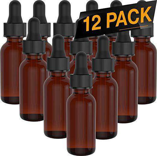 Essential Oil Roller Bottles - Round Boston Empty Refillable Amber Bottle with Glass Dropper for Liquid Aromatherapy Fragrance Lot - (1/2 oz) 15ml Oil Roller Bottles BargzOils 12 Pack