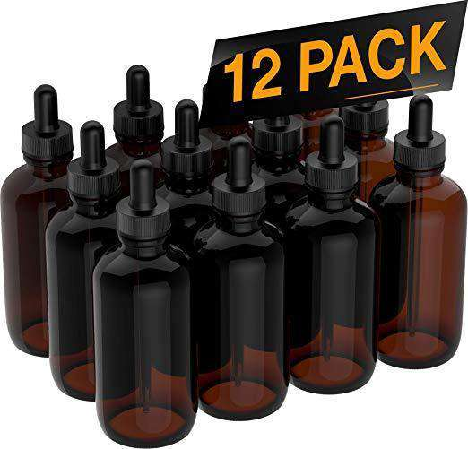 Essential Oil Dropper Bottles - Round Boston Empty Refillable Amber Bottle with Glass Dropper for Liquid Aromatherapy Fragrance Lot - (4 oz) 120ml Oil Dropper Bottles BargzOils 12 Pack