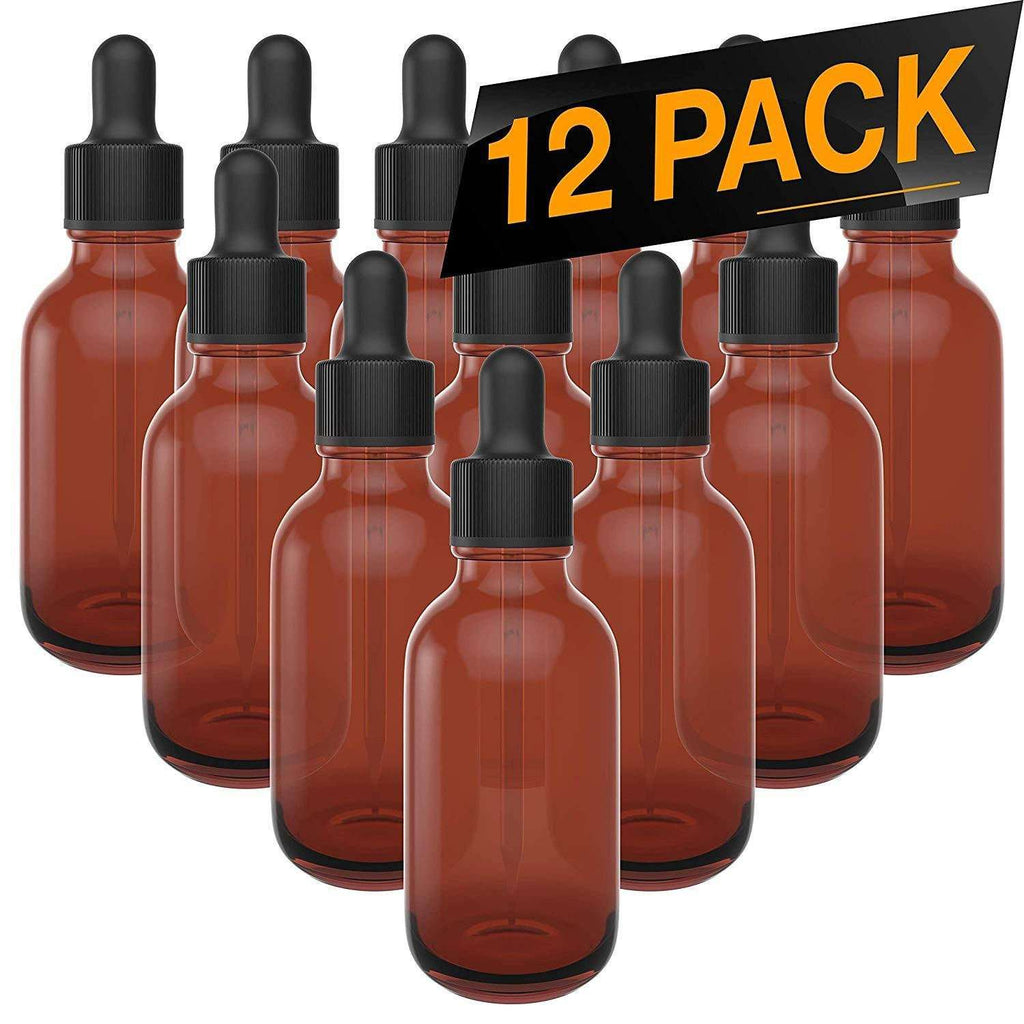 Essential Oil Dropper Bottles - Round Boston Empty Refillable Amber Bottle with Glass Dropper for Liquid Aromatherapy Fragrance Lot - (2 oz) 60ml Oil Roller Bottles BargzOils 12 Pack