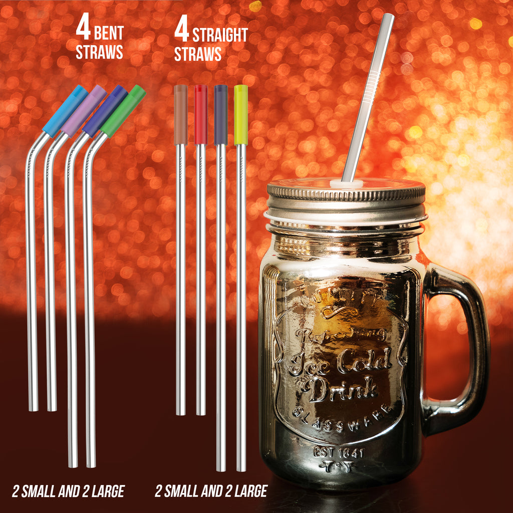 iCooker Reusable Stainless Steel Straws Ultra Long 10.5 Inch Drinking Metal Straw For Tumblers Rumblers Cold Beverage - (4 Straight - 4 Bent - 2 Cleaning Brushes) - 8 Pack