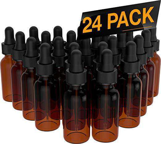 Essential Oil Roller Bottles - Round Boston Empty Refillable Amber Bottle with Glass Dropper for Liquid Aromatherapy Fragrance Lot - (1/2 oz) 15ml Oil Roller Bottles BargzOils 24 Pack