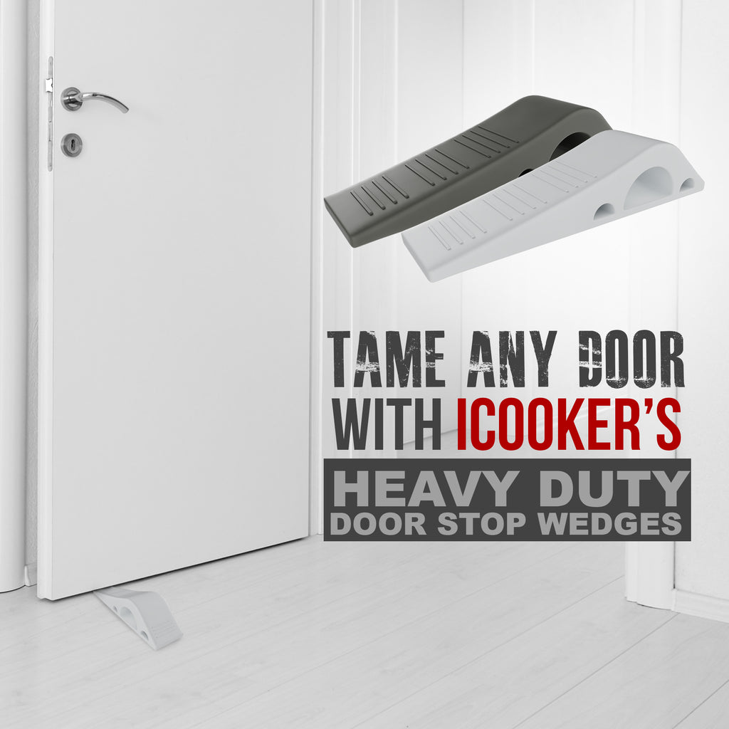 iCooker Door Stopper [RELIABLE AND PRACTICAL] Rubber Door Stop Security Wedge, Flexible, Non-toxic, Longer Lasting Works with All Floor Surface Type [EASY INSTALL HINGES WITH BONUS HOLDERS] - 4 Pack