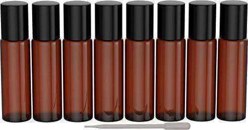 8 Pack - Essential Oil Roller Bottles [Metal Chrome Roller Ball] FREE Plastic Pippette Refillable Glass Color Roll On for Fragrance Essential Oil - 10 ml 1/3 oz (Amber) Oil BargzOils
