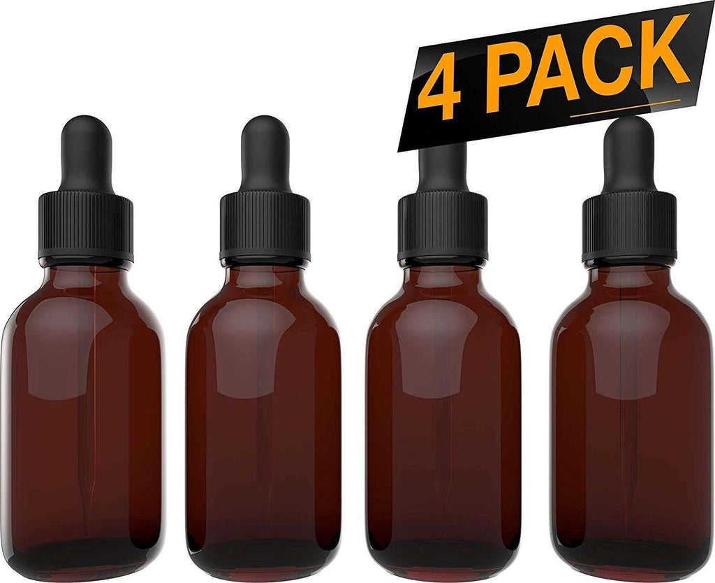 Essential Oil Dropper Bottles - Round Boston Empty Refillable Amber Bottle with Glass Dropper for Liquid Aromatherapy Fragrance Lot - (2 oz) 60ml Oil Roller Bottles BargzOils 4 Pack