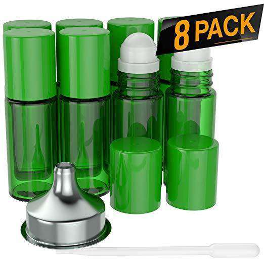 Essential Oil Roller Bottles [Plastic Roller Ball] FREE Plastic Pippette and Funnel - Refillable Glass Color Roll On for Fragrance Essential Oil - 30ml 1 oz Oil Roller Bottles BargzOils 8 PACK Green