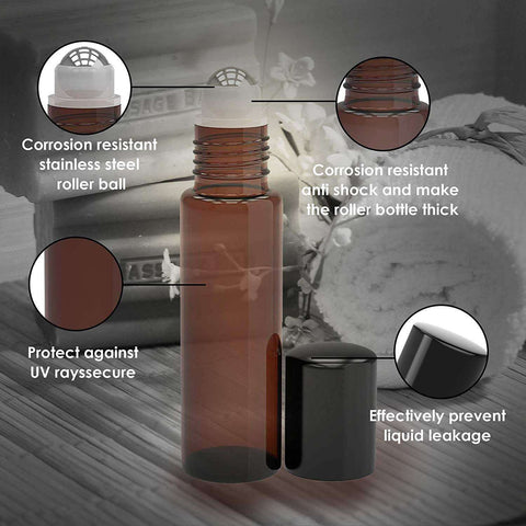 Image of 8 Pack - Essential Oil Roller Bottles [Metal Chrome Roller Ball] FREE Plastic Pippette Refillable Glass Color Roll On for Fragrance Essential Oil - 10 ml 1/3 oz (Amber) Oil BargzOils