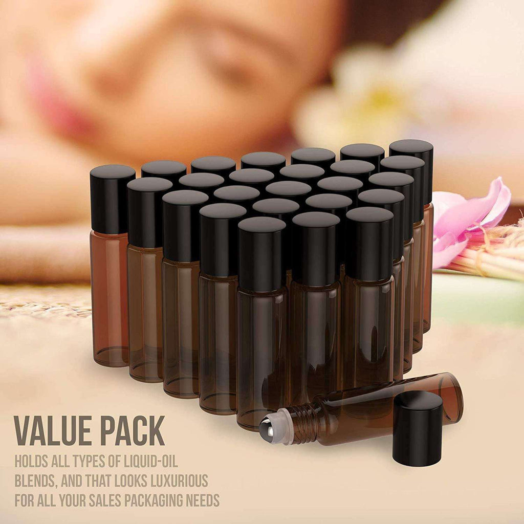 26 Pack - Essential Oil Roller Bottles [Metal Chrome Roller Ball] FREE Plastic Pippette, Funnel and Bottle Opener Refillable Glass Color Roll On for Fragrance Essential Oil - 10 ml 1/3 oz (Amber) Oil BargzOils