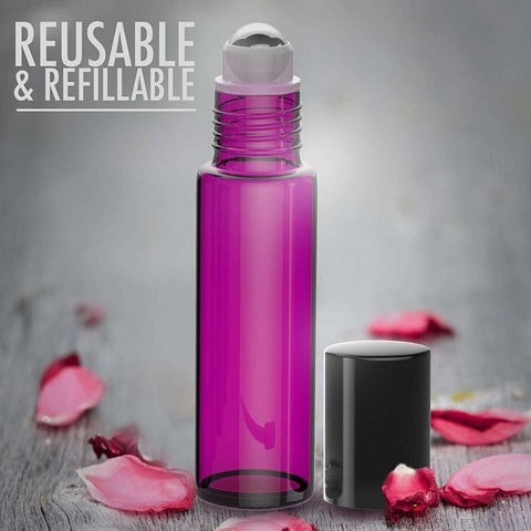 Image of Essential Oil Roller Bottles [Metal Chrome Roller Ball] FREE Plastic Pippette, Funnel and Bottle Opener Refillable Glass Color Roll On for Fragrance Essential Oil - 10 ml 1/3 oz (8 PACK, PURPLE) Oil BargzOils