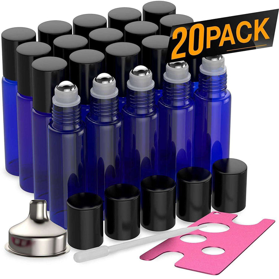 20 Pack - Essential Oil Roller Bottles [Metal Chrome Roller Ball] FREE Plastic Pippette, Funnel and Bottle Opener Refillable Glass Color Roll On for Fragrance Essential Oil - 10 ml 1/3 oz (Blue)