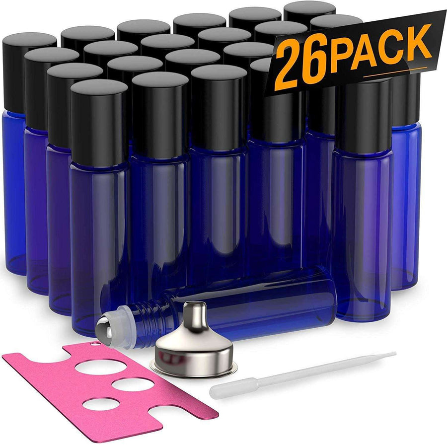 26 Pack - Essential Oil Roller Bottles [Metal Chrome Roller Ball] FREE Plastic Pippette, Funnel and Bottle Opener Refillable Glass Color Roll On for Fragrance...