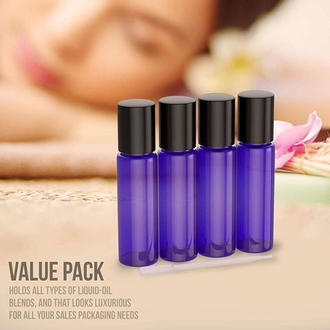 Image of 4 Pack - Essential Oil Roller Bottles [Metal Chrome Roller Ball] FREE Plastic Pippette, Funnel and Bottle Opener Refillable Glass Color Roll On for Fragrance Essential Oil - 10 ml 1/3 oz (Blue) Oil BargzOils