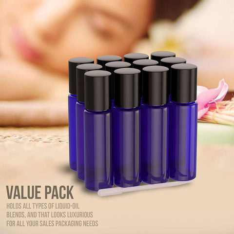 Image of 12 Pack - Essential Oil Roller Bottles [Metal Chrome Roller Ball] FREE Plastic Pippette, Funnel and Bottle Opener Refillable Glass Color Roll On for Fragrance... Oil BargzOils